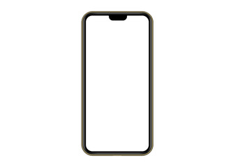 Golden Modern Smartphone.  Mock up mobile  phone with blank white screen. Vector Illustration for app, web, design.