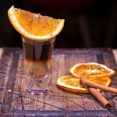 bar cocktail with orange slice