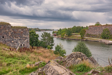 Suomenlinna islands Unesco heritage with forts and bridges outside Helsinki, Finland