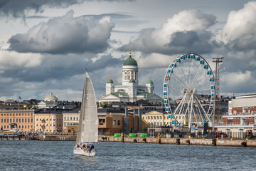 Harbor with ferries in Helsinki, Capital of Finland