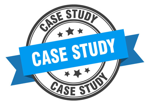 case study label. case study blue band sign. case study