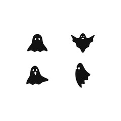 Set of scary ghost logo vector icon illustration design