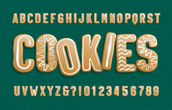 Christmas Gingerbread Cookies alphabet font. Cartoon letters and numbers with icing sugar covering. Holiday vector illustration for your design.