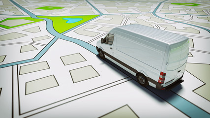 Truck on a road city map. Concept of global shipment and GPS tracking Fototapete