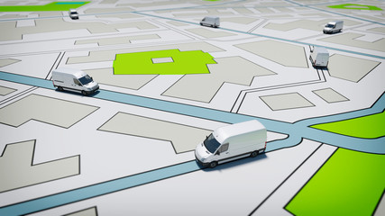 Trucks on a road city map. Concept of global shipment and GPS tracking Fototapete