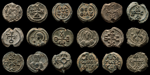 Collage made of high quality images of authentic ancient post seals