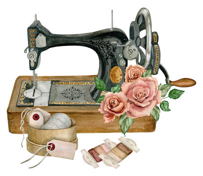 Watercolor vintage illustration of sewing studio equipment