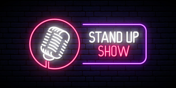Vector Stand Up Show emblem in neon style. Bright neon design banner.