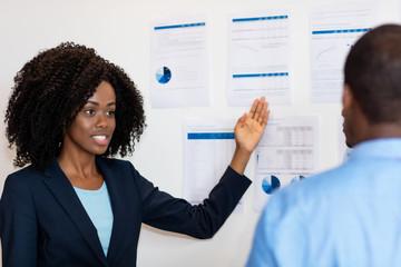 Presentation of african american businesswoman