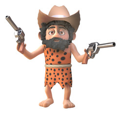 3d prehistoric caveman character wearing a cowboy stetson hat and holding two pistols, 3d illustration