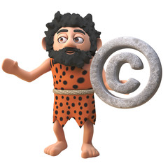 Cartoon 3d prehistoric caveman character holding a rock copyright symbol, 3d illustration