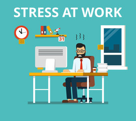 Stress at work concept. Tired and overworked businessman or office worker sitting at his desk. Flat vector illustration.