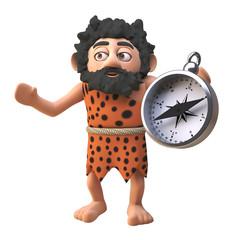 Cartoon 3d prehistoric caveman character holding a magnetic compass, 3d illustration