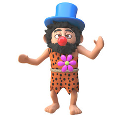 Cartoon 3d prehistoric caveman dressed as a clown with a red nose, 3d illustration