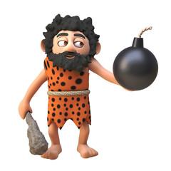 3d cartoon prehistoric caveman character holding a gunpowder bomb and club, 3d illustration