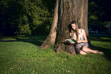 Young female student  reading a book by the tree