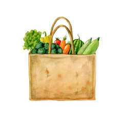 Sackcloth eco bag full of fresh vegetables. Salad, broccoli, carrot, watermelon, squash, pepper, tomato in craft bag isolated on white background. Watercolor hand drawn illustration.