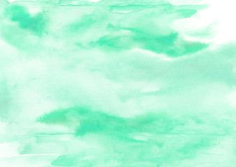 Watercolor green background, blot, blob, splash of  green paint. Watercolor green sky, spot, abstraction. Abstract art illustration, scenic background. Abstract artistic frame.