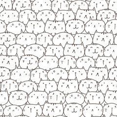 Cute cat seamless pattern background. Vector illustration.