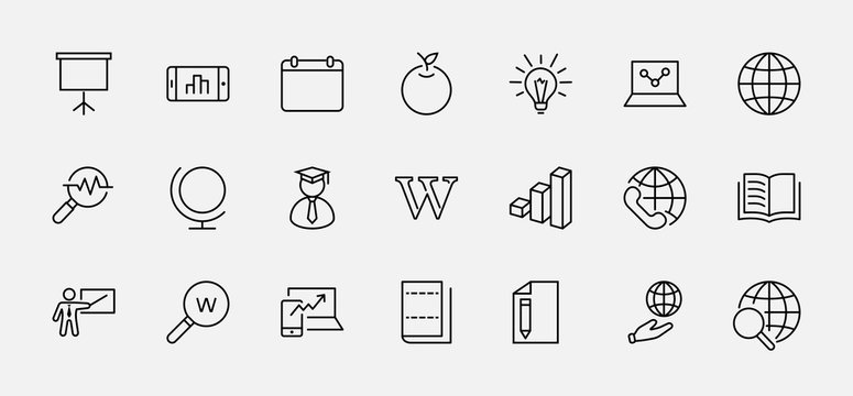 Wikipedia's birthday Set Line Vector Icon. Contains such Icons as Wikipedia, Open Book, Teacher, Blackboard, Pointer, Web Globe, Directory, Search, Lamp, Calendar. Editable Stroke. 32x32 Pixel Perfect