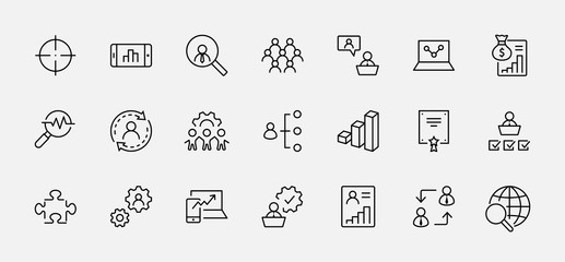Set of People Management Related Vector Line Icons. Contains such Icons as Target, Puzzle, Certificate, Personal data processing, Task Manager, Qualification, Head Hunting and more. Editable Stroke Wall mural