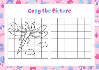 Copy the picture. Drawing activity for kids. Educational game for preschool children. Vector Illustration.