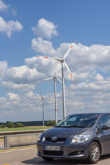Windmills near the highway at Kassel on Germany