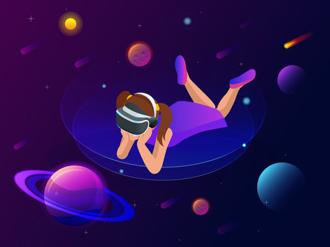 Isometric virtual reality concept. A girl in virtual reality glasses looks at planets, comets and stars, space exploration.
