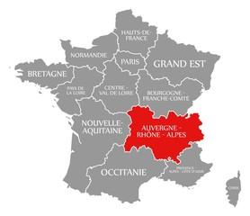 Auvergne - Rhone - Alpes red highlighted in map of France