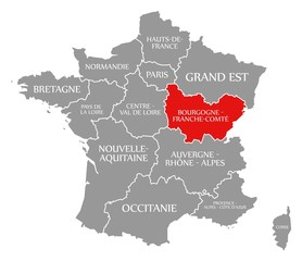 Bourgogne - Franche-Comte red highlighted in map of France