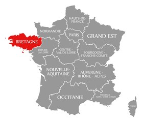 Bretagne red highlighted in map of France