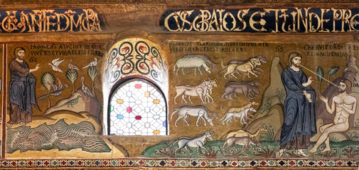 The creation in ancient mosaics of Palatine chapel, Palermo