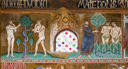 Adam and Eve in Palatine chapel of Palermo