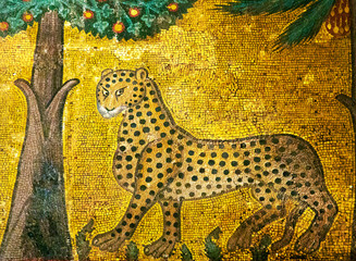 Ancient mosaic of leopard in Palermo, Italy