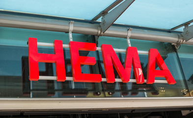 COLOGNE, GERMANY OCTOBER, 2017: HEMA logo on a store. HEMA is a Dutch discount retail chain with more than 700 store in Europe.