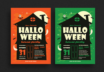 Halloween House Party Flyer Layout
