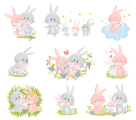 Set of images of a family of rabbits. Vector illustration on a white background.