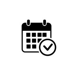 Calendar vector icon. Black illustration isolated for graphic and web