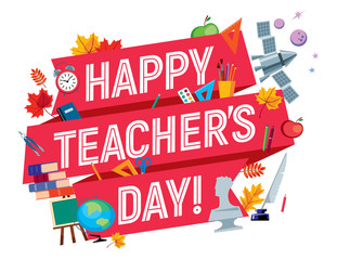 Congratulation red ribbon with the inscription: Teacher's Day. Around school subjects. Vector full color graphics