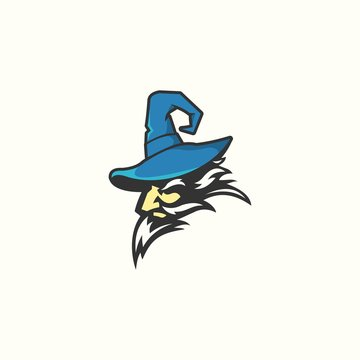 old wise strong magical wizard vector logo design