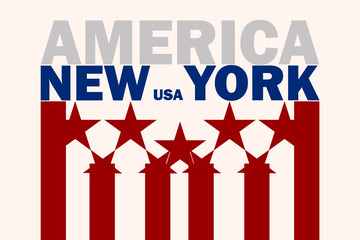 Poster in the style of the American flag with the text and the name New York on a beige background
