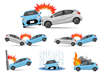 Foto op Plexiglas Cartoon cars Illustration material: car accident, set