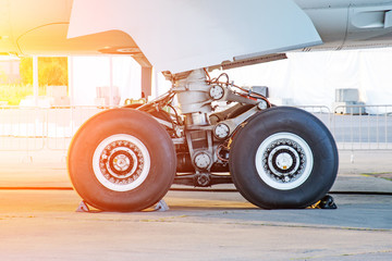 Aircraft rear landing gear with wheels and rubber, side view.