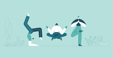 People yoga poses. Man and woman doing asana and meditate. Modern cartoon characters and green plants background. Vector flat illustration. Use in web project and applications.