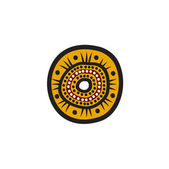 Aboriginal art dots painting icon logo illustration template