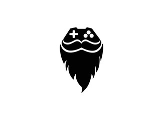 Console gamer and beard and moustache face symbol gaming vector play games logo design illustration on white background