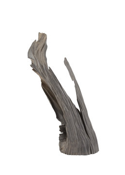 Carved sculpture of bog oak on a white background.