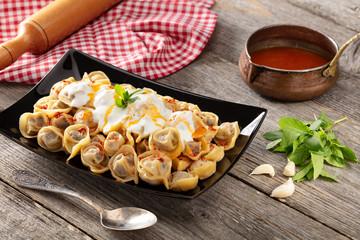 Turkish Food Manti stock photo