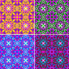 Set of diffence color seamless patterns