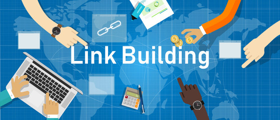 Link building. Search engine optimization create back-link between website page